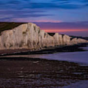 Seven Sisters Cliffs In England Seen At Night. Art Print