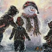 Snowman And Three Boys Art Print