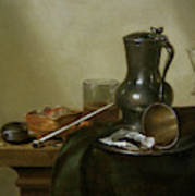 Still Life With Tobacco  Wine And A Pocket Watch  Art Print