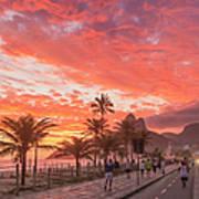 Sunset Over Ipanema Beach Art Print