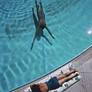 Swimmer And Sunbather Art Print