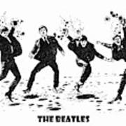 The Beatles Black And White Watercolor 01 Art Print