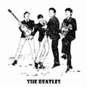 The Beatles Black And White Watercolor 02 Art Print