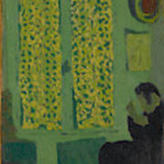 The Green Interior  Figure Seated By A Curtained Window   Art Print