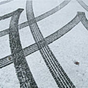 Tire Tracks In Snow, Winter Art Print