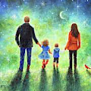 Twilight Walk With Mom And Dad Art Print