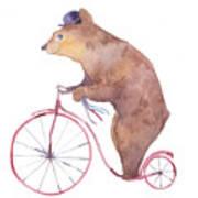 Watercolor Cartoon Bear On Retro Art Print