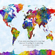 Watercolor World Map Custom Text Added Art Print