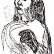 Woman Holding A Hat Art Print