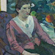 Woman In Front Of A Still Life By Cezanne Art Print