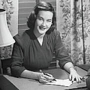 Young Woman Writing Letter At Desk, B&w Art Print