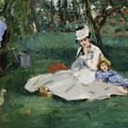 The Monet Family In Their Garden At Argenteuil  Art Print