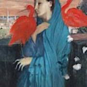 Young Woman With Ibis  Art Print