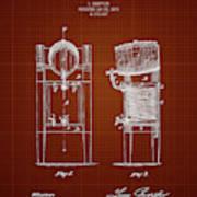 1876 Brewing Cooler - Dark Red Blueprint Art Print