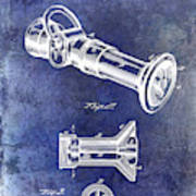 1896 Fire Hose Spray Nozzle Patent Blue Art Print