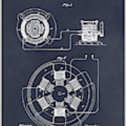 1896 Tesla Alternating Motor Blackboard Patent Print Art Print