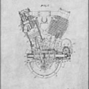 1914 Spacke V Twin Motorcycle Engine Gray Patent Print Art Print
