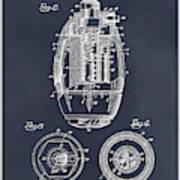 1917 Hand Grenade Blackboard Patent Print Art Print