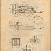 1919 Motor Driven Hair Clipper Antique Paper Patent Print Art Print