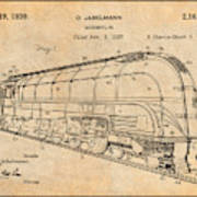 1937 Jabelmann Locomotive Antique Paper Patent Print Art Print