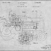 1942 John Deere Tractor Gray Patent Print Art Print