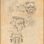 1952 3 Three Wheel Motorcycle Antique Paper Patent Print Art Print