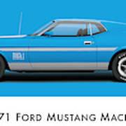 1971 Ford Mustang Mach 1 - Grabber Blue Ver.2 Art Print