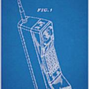 1988 Motorola Cell Phone Blueprint Patent Print Art Print
