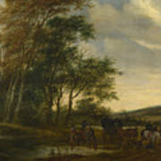 A Landscape With A Carriage And Horsemen At A Pool  Art Print