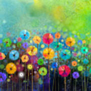 Abstract Floral Watercolor Painting Art Print