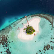 Aerial Drone View Of A Tropical Island, Maldives Art Print