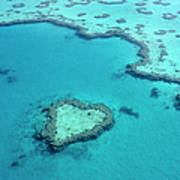 Aerial Of Heart-shaped Reef At Hardy Art Print