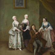 An Interior With Three Women And A Seated Man  Art Print