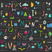 Cute Alphabet. Letters And Words. Learn Art Print