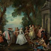 Dance Before A Fountain Art Print