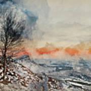 Digital Watercolor Painting Of Beautiful Winter Landscape At Vib Art Print