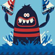 Monster Vector Design Art Print