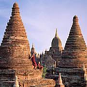 Myanmar, Bagan, Buddhist Monks On Temple Art Print