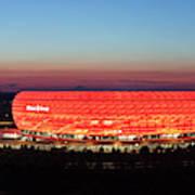 Soccer Stadium Lit Up At Dusk, Allianz Art Print