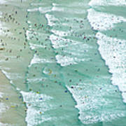 Swimmers And Surfers On Beach, Aerial Art Print