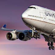 United Airlines Boeing 747-422 Art Print