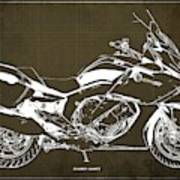 2016 Bmw K1600gt Blueprint, Original Motorcyclkes Blueprints, Bmw Artworks, Vintage Brown Background Art Print