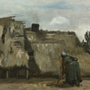 A Peasant Woman Digging In Front Of Her Cottage Art Print
