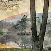 Digital Watercolor Painting Of Beautiful Landscape Image Of Tarn Art Print