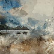 Digital Watercolor Painting Of Beautiful Summer Sunrise Landscap Art Print