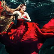 Female Dancer Performing Under Water Art Print