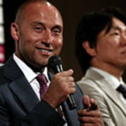 Former Yankees Jeter And Matsui Hold 3 Art Print