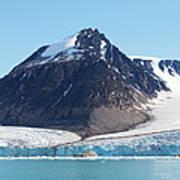 Glaciers Tumble Into The Sea In The Art Print