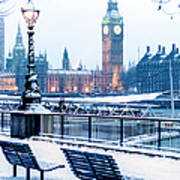 Houses Of Parliament In The Snow Art Print