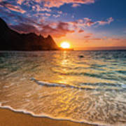 Sunset Over The Na Pali Coast Art Print